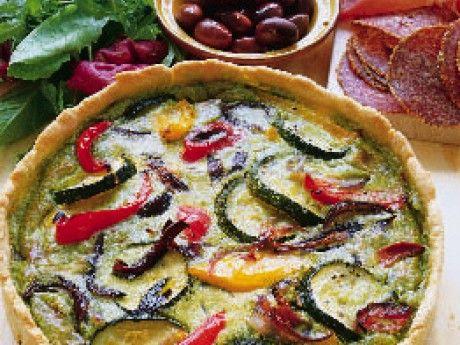 Pestopaj med bakade grönsaker