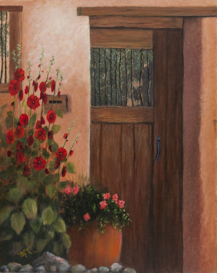 Door with Hollyhocks  (Reproduction from NM Magazine)