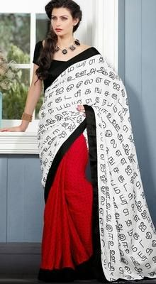 this printed saree as well is a good option to learn your alphabet in a traditional way!