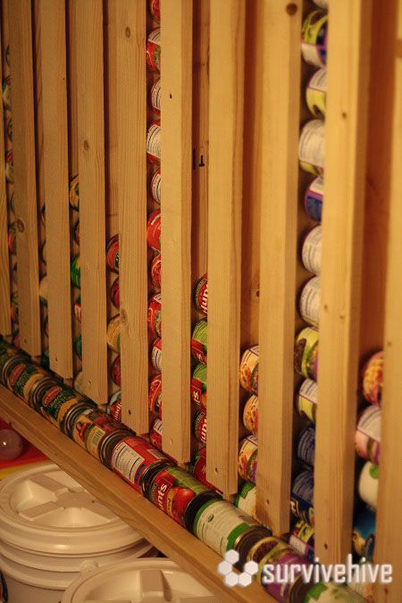 survivehive - DIY Wall-hanging canned food storage - with directions