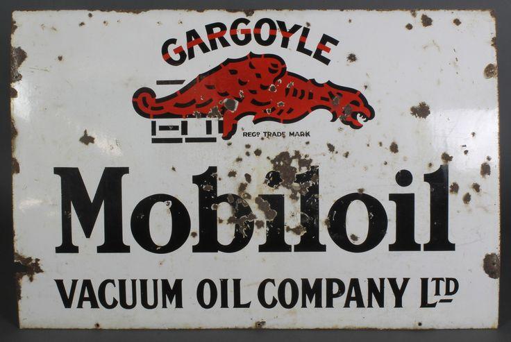 """Lot 297, An enamelled advertising sign for Gargoyle Mobil Oil, 30"""" x 45"""", sold for £100"""