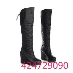 Womens Ladies Knee High Heel Boots Lace Up Shoes UK Size Wedge Platform Y844