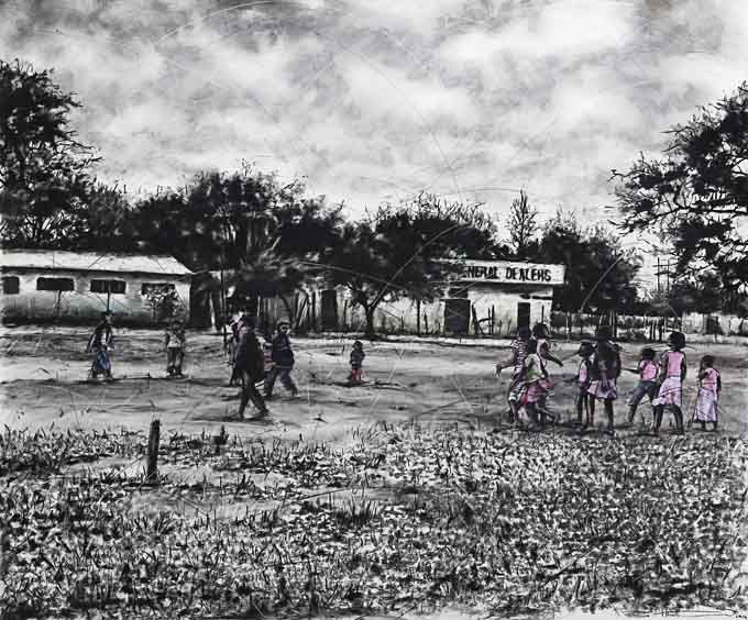 Ndlela hi Komba hi Lava va Nga Rhanga va yi Famba II (A Path Is Best Shown By Those Who Have Walked It), charcoal and pastel on paper, 140 x 165cm  by Phillemon Hlungwani  For more please visit www.finearts.co.za