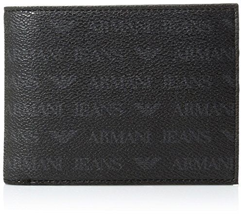 Armani Jeans Men's All Over Logo Pu Bifold Wallet With Coin Pocket 13x10x2