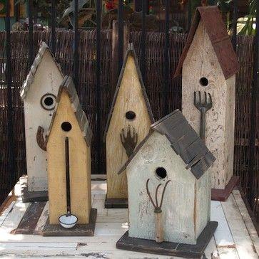 Folk Art Bird Houses | Folk Art Bird House - eclectic - birdhouses - by Potted