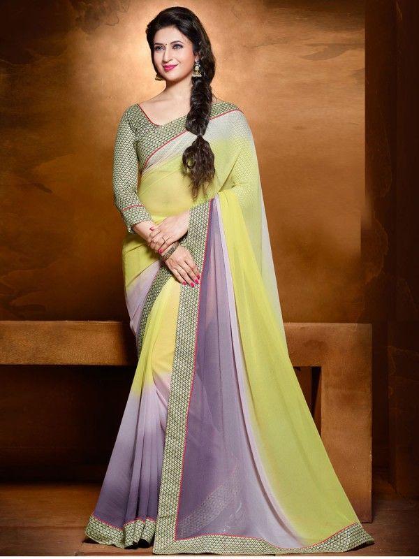Multicolor georgette shaded border saree