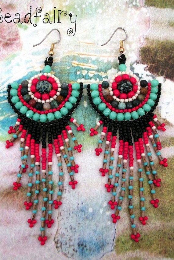 Lifespring Mushroom Earrings by BeadfairyStore on Etsy