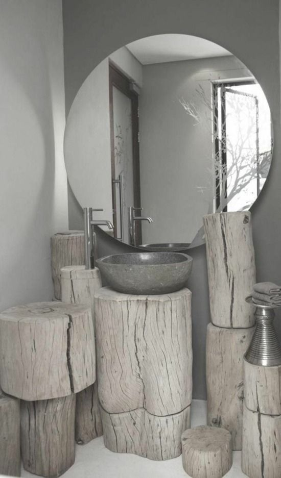 Miroir salle de bain design et meuble en bois #salledebain #inspiration