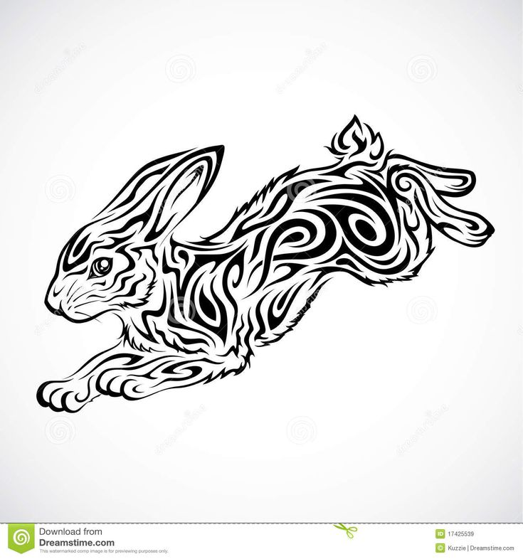 tribal chinese animal tattoo | Tribal Rabbit Tattoo Royalty Free Stock Images - Image: 17425539