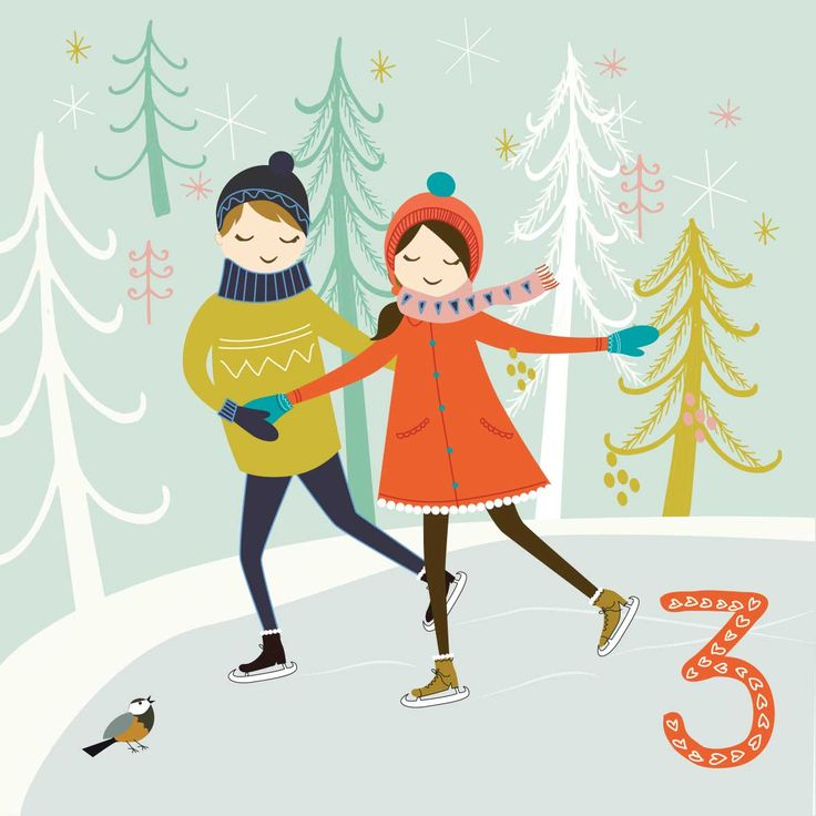 Forest Skating  Day3 #illo_Advent, Illustration by Szonja Kiss #illo_Advent2016, #christmasartcountdown, #christmascountdown, #adventcalendar, #illustratedadvent, #adventillustrated, #adventillustration, #itsAdvent, #adventcalendarart, #christmasart, #christmasillustration