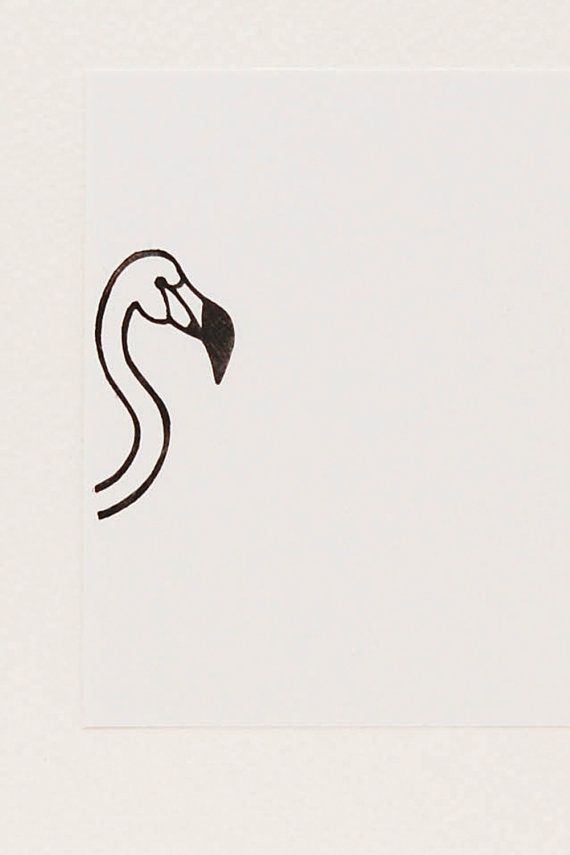 A proud flamingo peek-a-boo stamp - Non-mounted hand carved simple rubber stamp - funny bird stamp