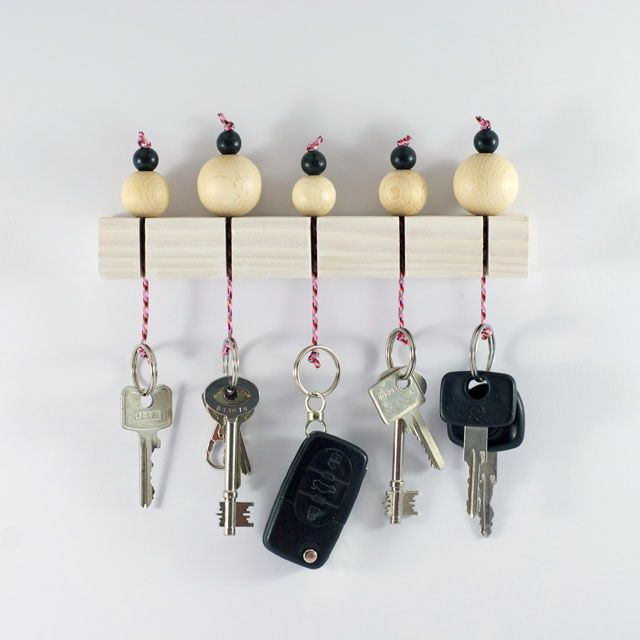 Wooden bead key holder