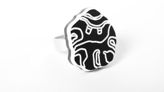 Black Biomorphic Round Ring - The Willendorf by WhiteIslandWorks, €20.00