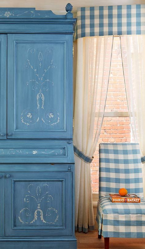 Love the French Country blue of the secretary and buffalo check on chair and valance (1) From: Traditional Home (2) Webpage has a Pinterest Share Button