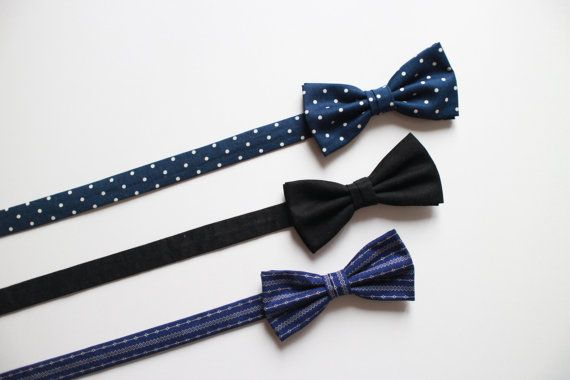 Blue and beige polka dot bow tie by everDapper on Etsy