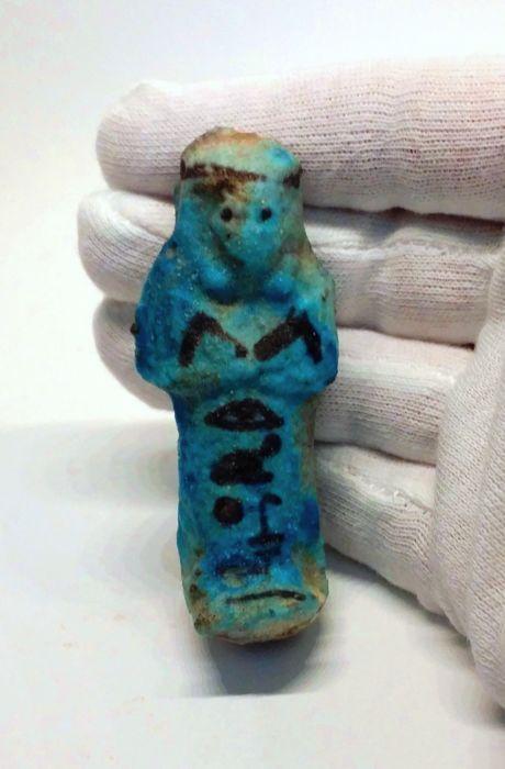 Egyptische Faience shabti oesjabti voor Chons - H 76 cm  Materiaal: FaienceHerkomst: EgypteHerkomst: Duitse collectie / Nederlandse collectie.Conditie: goedOmlooptijd: Egypte 3e. tussenperiode 21. Dyn. c. 1069-945 v.Chr. Opper-Egypte Thebaanse regioHoogte: 76 cmPigmenten in het zwart afgebeeld het dragen van een hoofdband paar hoes. Hiërogliefen luidt als volgt: De Osiris Chons gerechtvaardigdEen goed geproportioneerd mooie blauwe shabti beeldje gevormd als een mummie met de armen gevouwen…