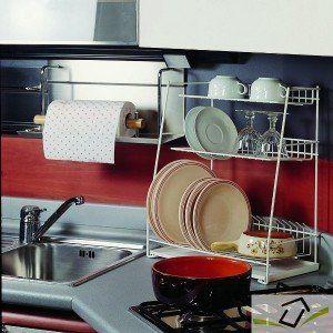 Metaltex 32434414080 Atoll Egouttoir 3 Étages avec Plateau Métal Blanc 43,5 x 22 x 50,5 cm: Amazon.fr: Cuisine & Maison