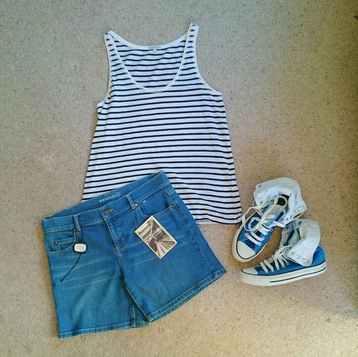 SPRING STYLE | Jigsaw Breton Stripe Vest | Whistles Denim Shorts | Blue Converse High Tops | Available at www.deerandfawn.com