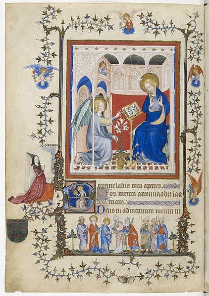 1390-1410.Très Belles Heures Notre-Dame Annonciation BNF NAL3093 f1v.The Très Belles Heures de Notre-Dame is a former book made for John, duke of Berry (1340-1416) between 1389 and 1409, and now divided into three books : the book of hours in the Bibliothèque nationale de France (NAL 3093), the missal now in Turin (Museo Civico d'Arte, ms inv n°47), and a prayer book formerly in Turin and now destroyed (Turin Biblioteca Nazionale, K.IV.29).