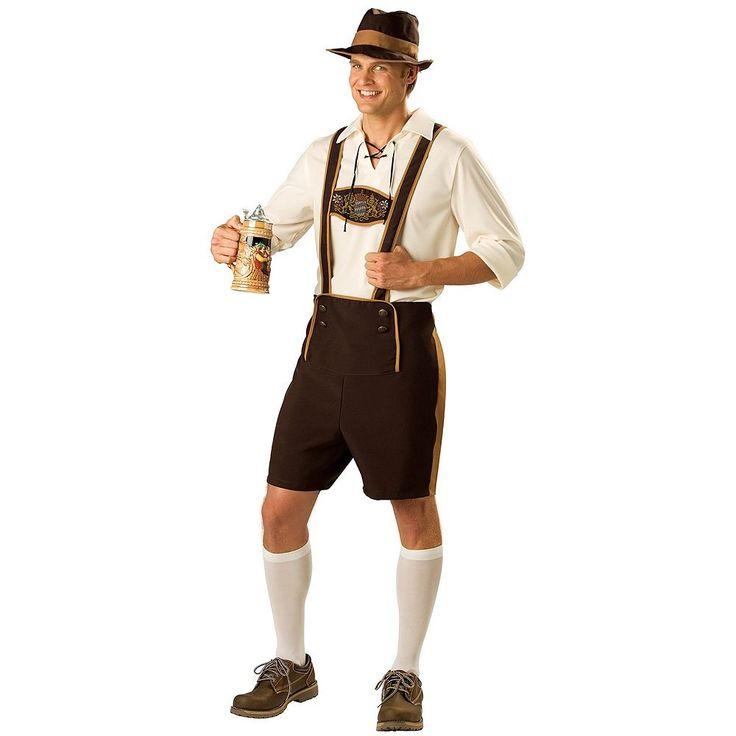 Adult Lederhosen Costume, Men's, Size: Medium, Brown