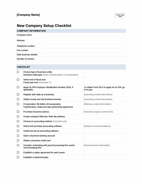 new company setup checklist