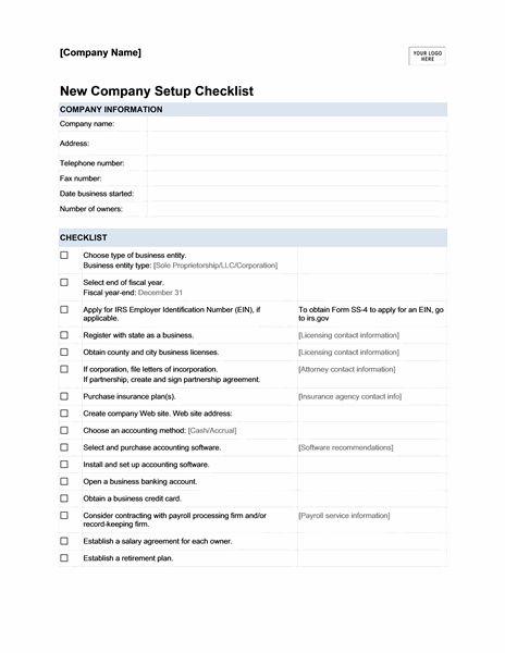 New Company Setup Checklist Templates Binder Binders