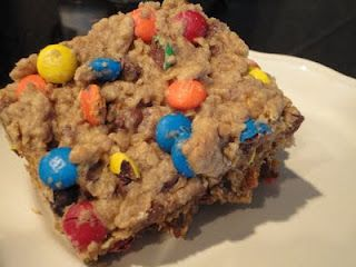 My all-time favorite Monster Cookie Bars! Make sure they're a little undercooked in the middle:)