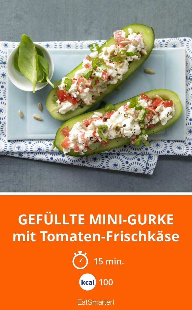 Gefüllte Mini-Gurke - mit Tomaten-Frischkäse - smarter - Kalorien: 100 kcal - Zeit: 15 Min. | eatsmarter.de