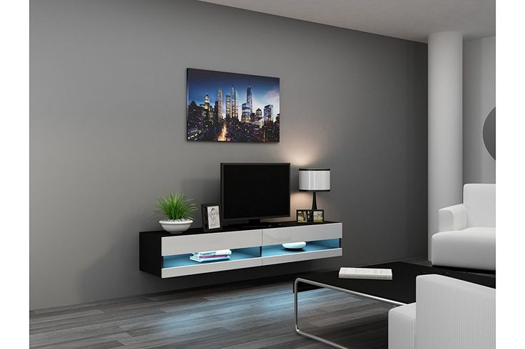 Modern Living Room Design Ideas With Concept Muebles 80 Inch Seattle High Gloss LED TV Stand – White & Black – TV Console for modern homes. Modern TV stand model with click-open drop down doors. Seattle VER 80″ TV Unit Dimensions: // Height – 11,8″; Width...