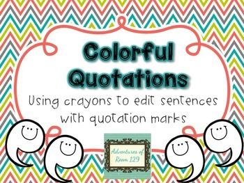 Help your students practice their quotation mark skills by using these fun and easy printables.  Students use the key to help edit the sentences with different colors!