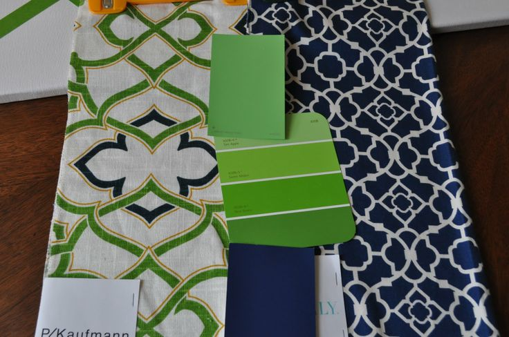 green and navy:  PKaufman Linked/Circa Dawn, navy and white:  Waverly Lovely Lattice