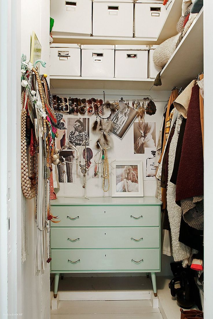 when you don't have a room to devote to a closet, use what you have make it feel like you do.