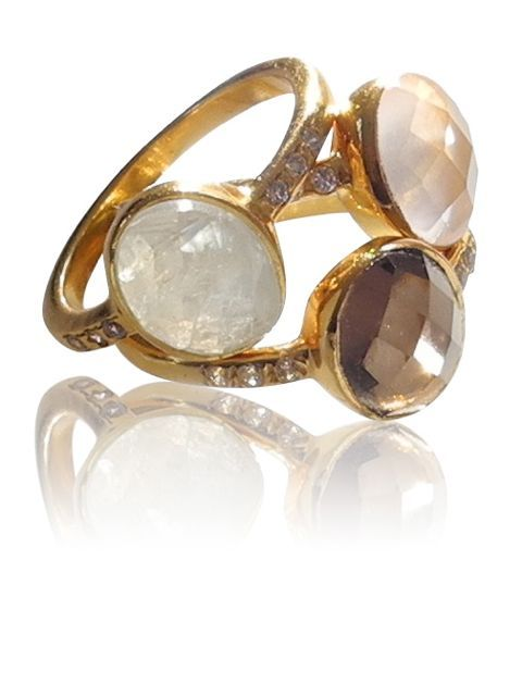 Beautiful gold plated silver rings with stones and circonia