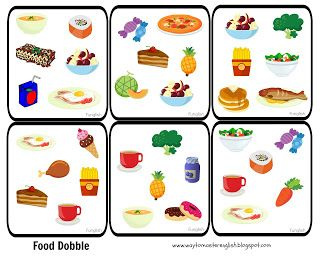 dobble  food game kids young learners vocabulary fruit vegetables eating meals dishes