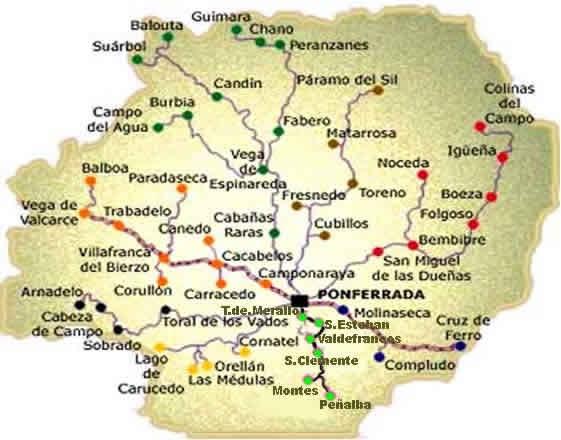 Mapa Del Bierzo Y Rutas