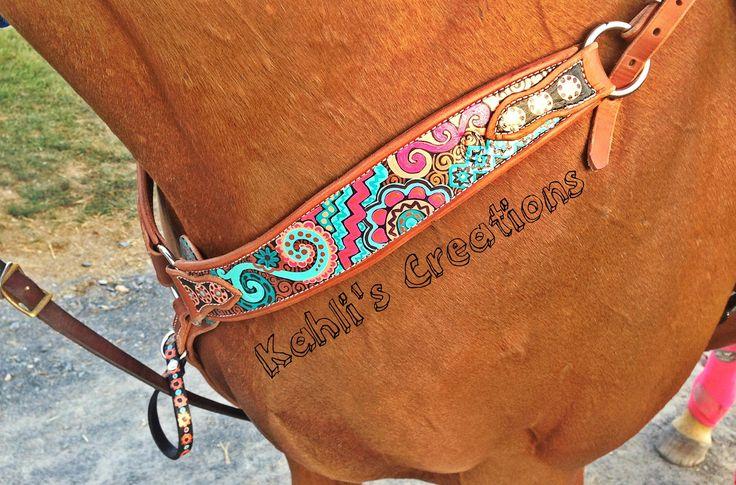 Kahlis Creations - Custom Painted Breast Collar - Unique Horse Tack