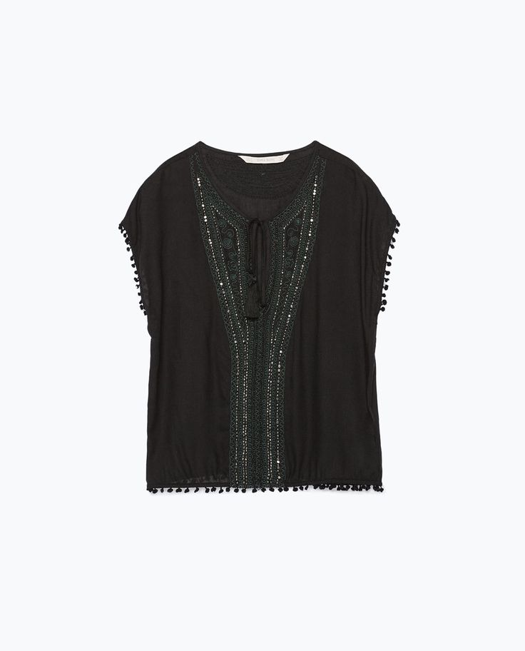 TASSEL SLEEVE EMBROIDERED BLOUSE from Zara