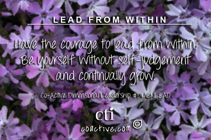 Have the courage to lead from within. Be yourself without self-judgement and continually grow. Co-Active Dimensional Leadership #DimenLead
