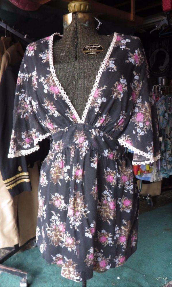 Vintage 70s Blouse Top Sheer Cotton Deep V Neck Boho Hippy Festival Retro Floral #OrganicallyGrown #Everyday