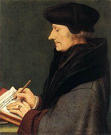 Desiderus Erasmus, peinture de Hans Holbein le Jeune. Egalemet appelé Erasme de Rotterdam, né le 28 aout 1469 à Rotterdam, comté de Hollande, et mort le 12 juillet 1536 à Bâle, est un chanoine régulier de St Augustin, philosophe, écrivain latin, humaniste et théologien des Pays-Bas bourguignons, considéré comme l'une des figures majeurs de la Renaissance tardive.