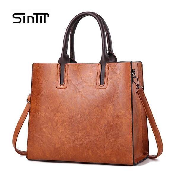 2307e24d1376 SINTIR Brand Women Pu Leather Handbags Ladies Large Tote Bag Female Square Shoulder  Bags Bolsas Femininas Sac A Main Brown Black