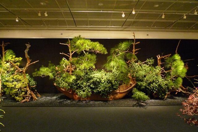 """第92回草月いけばな展「花遊ぶ」 東京・日本橋高島屋 2010年11月 宏家元の舟形陶器に、しゃれぼく、苔松、大王松、五葉松、じゃのめ松、椿をあわせ、力強さを演出した大作。 The 92nd Sogetsu Annual Exhibition """"Playful Flowers"""" was held at the Nihombashi Takashimaya Department Store, Tokyo. Producing dynamism while combining mossy pine, long-leaf pine, Japanese white pine, dragon-eye Japanese pine and camellia with rotten tree trunks and driftwood, daringly minimizing colors. The boat-shaped ceramic container is the work of Hiroshi Teshigahara, the former Iemoto. #ikebana…"""