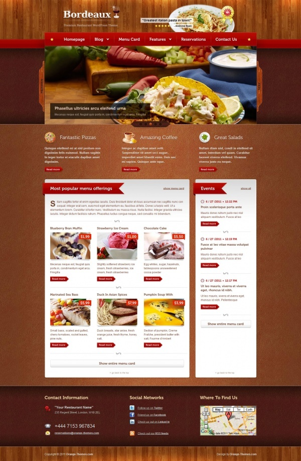 bordeaux premium WordPress restaurant theme