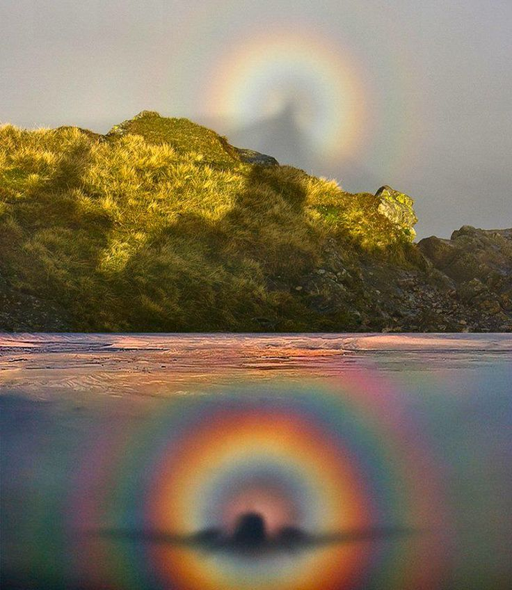 """Brocken Spectre (Glockenspectre)  A rare optic sight, the """"Brocken spectre,"""" which occurs when a person stands at a higher altitude in the mountains and sees his shadow cast on a cloud at a lower altitude. The rainbow is called a glory, the shadow is called the spectre of the brocken, and the white light in the center at the antisolar point is called heiligenschein (holy light)."""