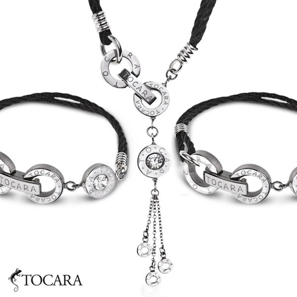Like modern jewelry and have a soft spot for Tocara? If yes, this Lena set is for you. Made out of stainless steel, crystal and black nylon cord it has that sophisticated modern look.