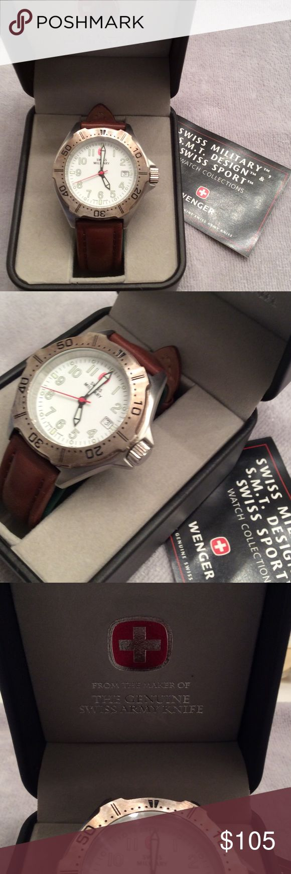 Swiss Wenger Watch Swiss made watch quartz movement, scratch and water resistant, Genuine Leather Band, Luminous hands and markers for nighttime visibility. Excellent condition, Quite vintage!! Battery not included, will need a battery... Swiss Wenger  Accessories Watches