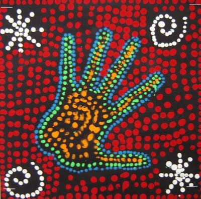 First we talk a little about the history of Australian dreamtime painting and Aboriginal art.  Next we talk about how we could make it our own.  Students trace their hand with pencil onto black 8x8 paper.  They begin by choosing 3 colors of paint and use those for the hand.  We dot paint with the back of a paintbrush.  Next day when the hands are dry, students draw a simple background design with pencil and use white tempera for the designs dots.  Finally they choose a background color, that…