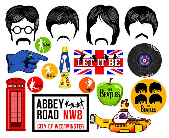 The Beatles inspired digital party characters are hand drawn and transferred digitally to print form. All copyrights are reserved to their respectful owners.   * THIS PHOTO BOOTH CONTAINS *  4 Hairs with mustaches. 1 Yellow submarine. 9 Beatles signs. 1 Phone box. 1 Lava lamp. 1 Vinyl record.  * MATERIALS REQUIRED * 1. Printer 2. Adobe Reader (free downloadable) 3. Cutting tools (scissors), Xacto Knife. 4. 8.5 x11 White Cardstock (I recommend 80 lb. cardstock, but 65 lb. will do). 5. Wooden…
