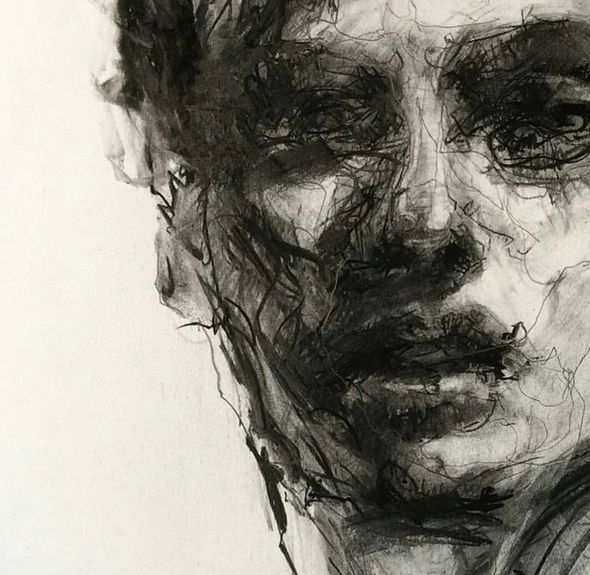 #Charcoal #drawing - Portrait #1 by Agnes Grochulska  interesting use of curvalinear lines to define the face and details.