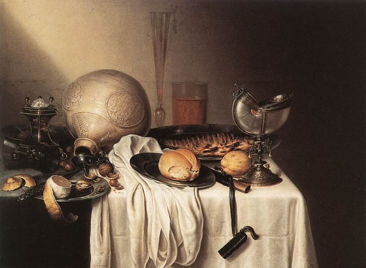 BOELEMA DE STOMME, Maerten. Still life with bearded man crock and nautilus shell cup.